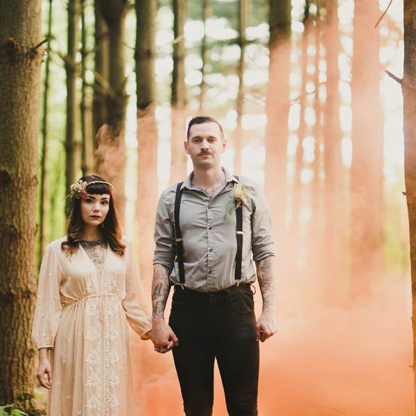 Alternative wedding in the woods